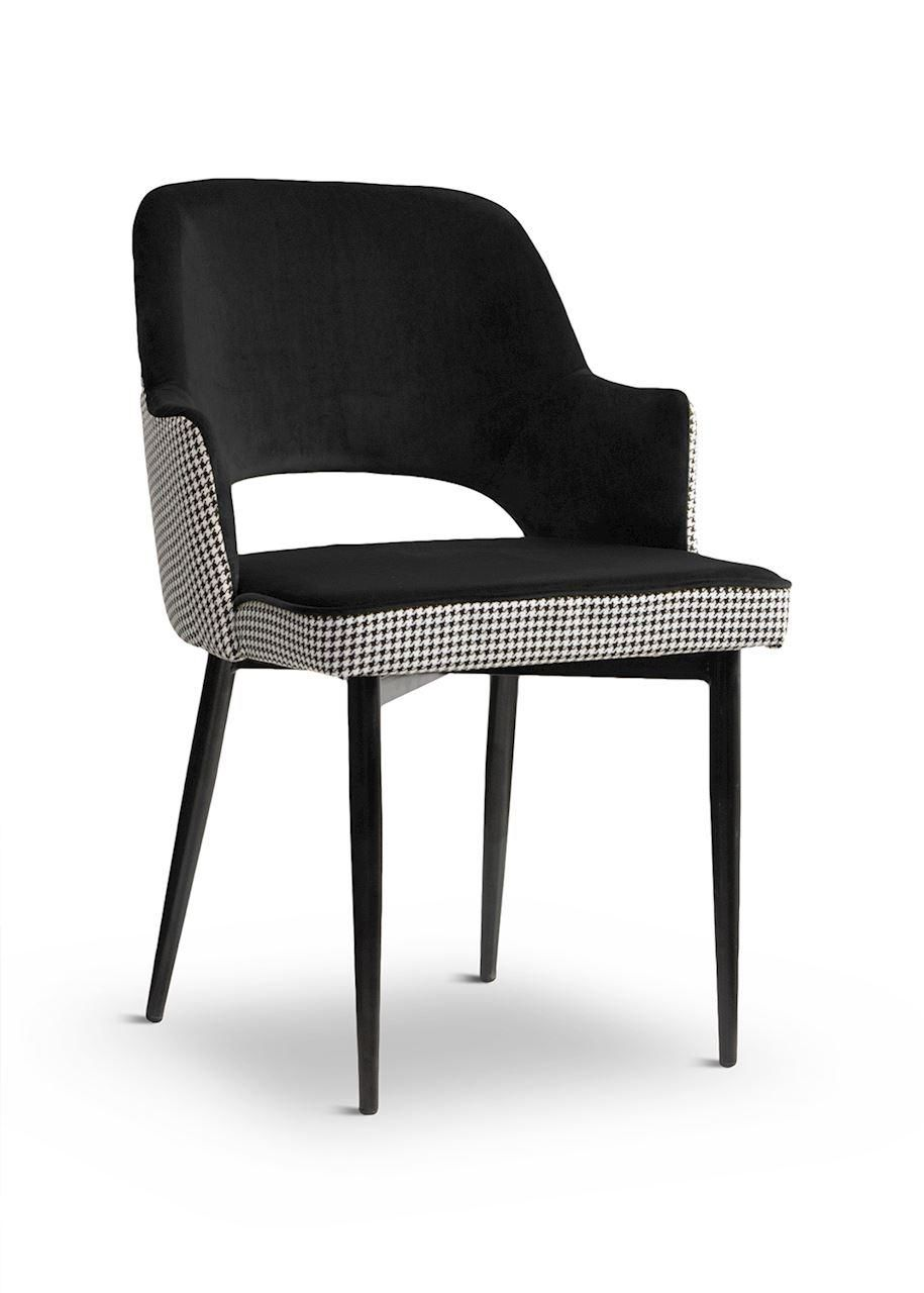 Cesar Chair Houndstooth Black Black Leg Bl19