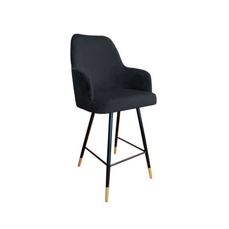 Black upholstered PEGAZ hoker material MG-19 with golden leg