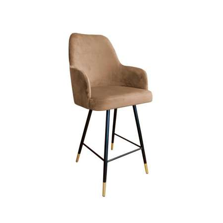Bright brown upholstered PEGAZ hoker material MG-06 with golden leg