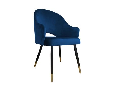 Dark blue upholstered chair DIUNA armchair material MG-16 with gold legs