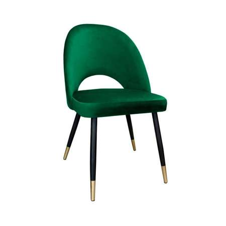 Green upholstered LUNA chair material MG-25 with golden leg