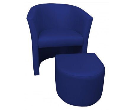 Navy blue CAMPARI armchair with footrest