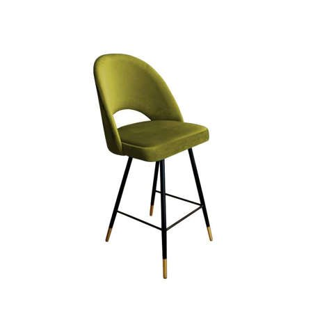 Olive upholstered LUNA hoker material BL-75 with golden leg