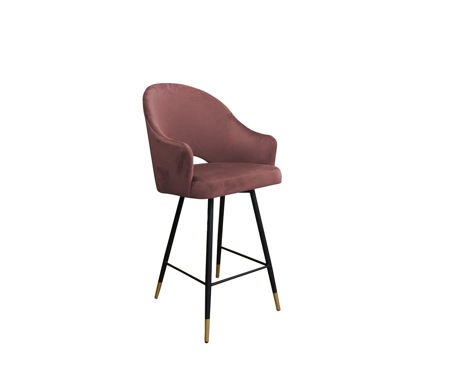 Pink upholstered DIUNA bar stool MG-58 coral with golden leg