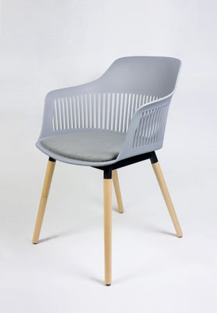 SK DESIGN KR049 LIGHT GREY CHAIR + CUSHION SEAT