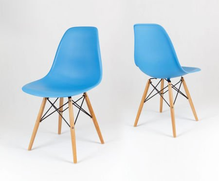 SK Design KR012 Ocean Blue Chair, Beech legs
