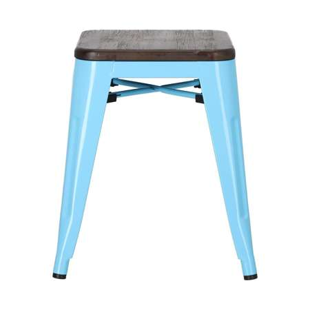 Stool Paris Wood blue brushed pine