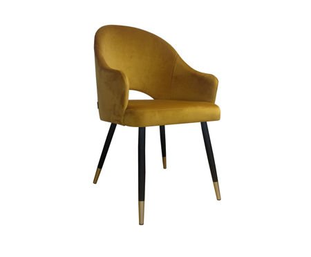 Yellow upholstered DIUNA chair material MG-15 mustard with gold legs